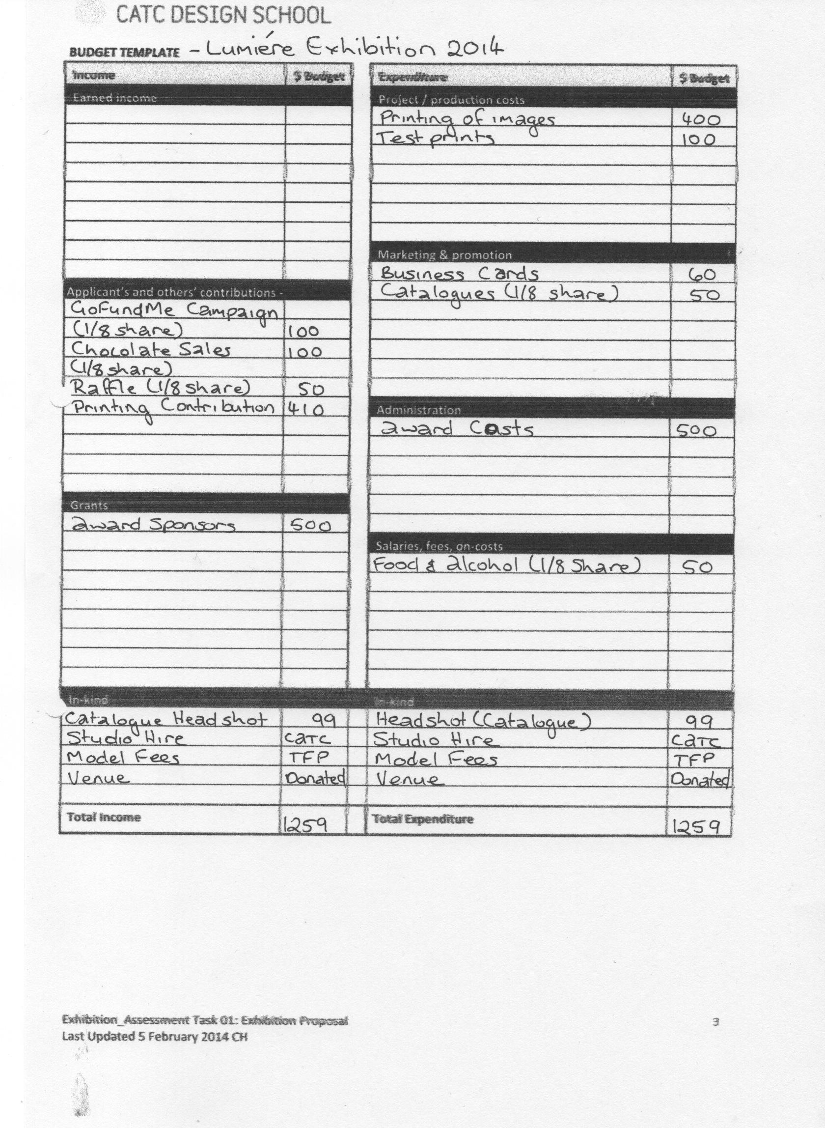 exhibition budget | Exhibition Assessment1