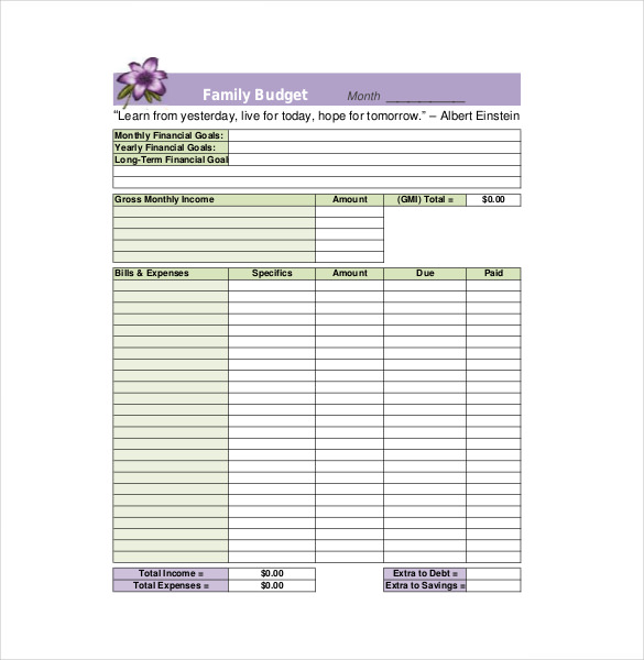 household budget template 8 family budget templates free sample
