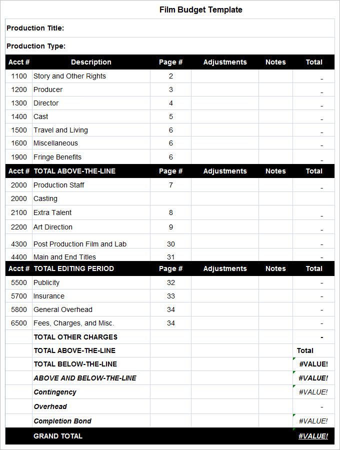 9+ Film Budget Templates   Word, Excel, PDF   Free & Premium Templates