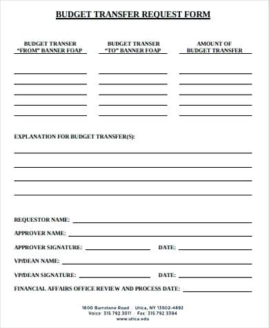 Budget Transfer Request Form Budget Request Form Template Fire