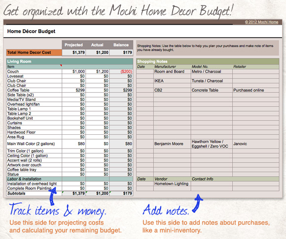Get This Spreadsheet: Home Decor Budget   Mochi Home | Mochi Home