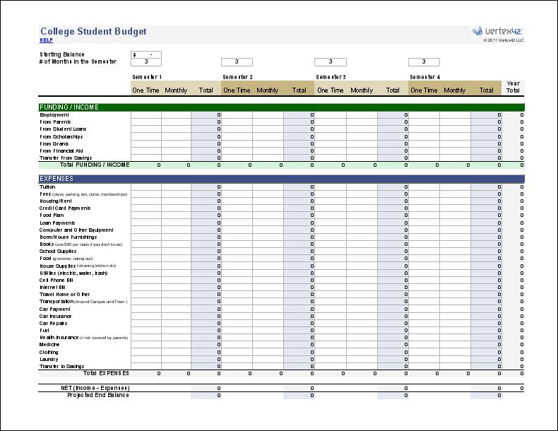 college student budget spreadsheet   Agadi.ifreezer.co