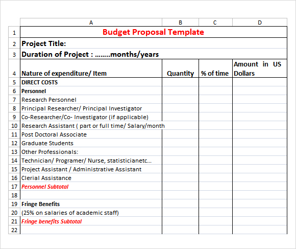 Grant proposal budget   Budget Templates for Excel