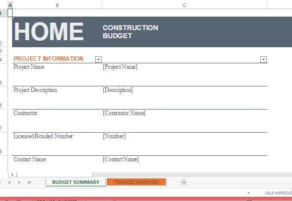 Excel Home Construction Budget Worksheet | Word & Excel Templates