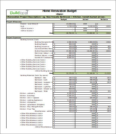 12+ Sample Renovation Budget Templates   PDF, Docs | Free