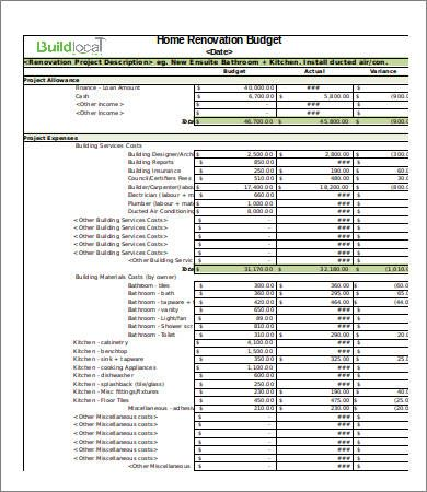 Basic Renovation Budget Template , 4 Renovation Budget Template