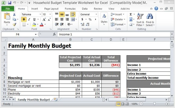 Household Budget Templates | 6+ Free Printable Word, Excel & PDF