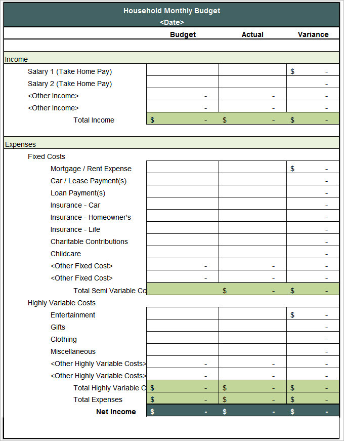 Household Budget Template   8+ Free Word, Excel, PDF Documents