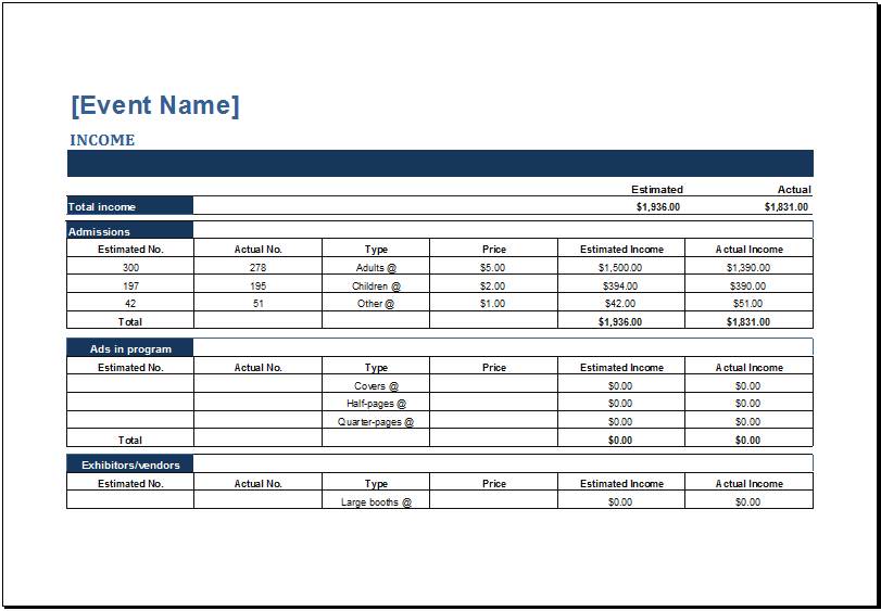 MS Excel Generic Event Budget Templates | Excel Templates