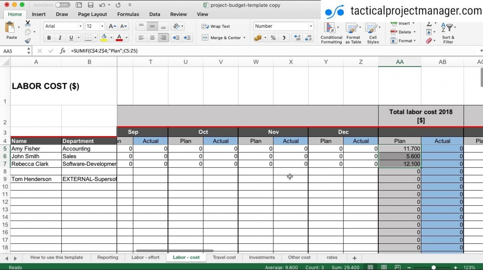 027 Labor Budget Template Plan Templates Singular Excel