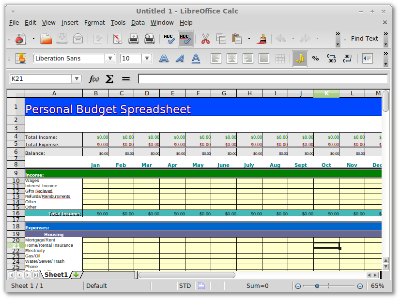 Openoffice.& Libreoffice  Personal/Family Budget Spreadsheet