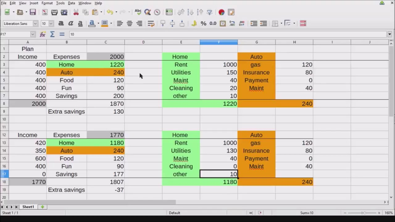 Libre Office Budget Spreadsheet   YouTube