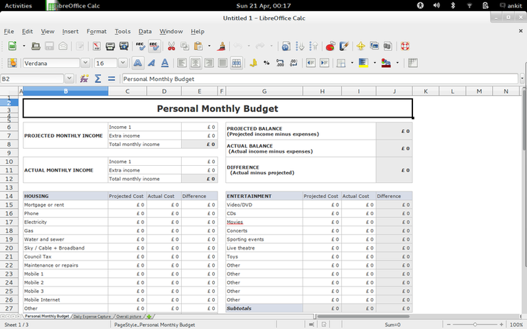 Personal Monthly Budget with Daily Tracking — LibreOffice