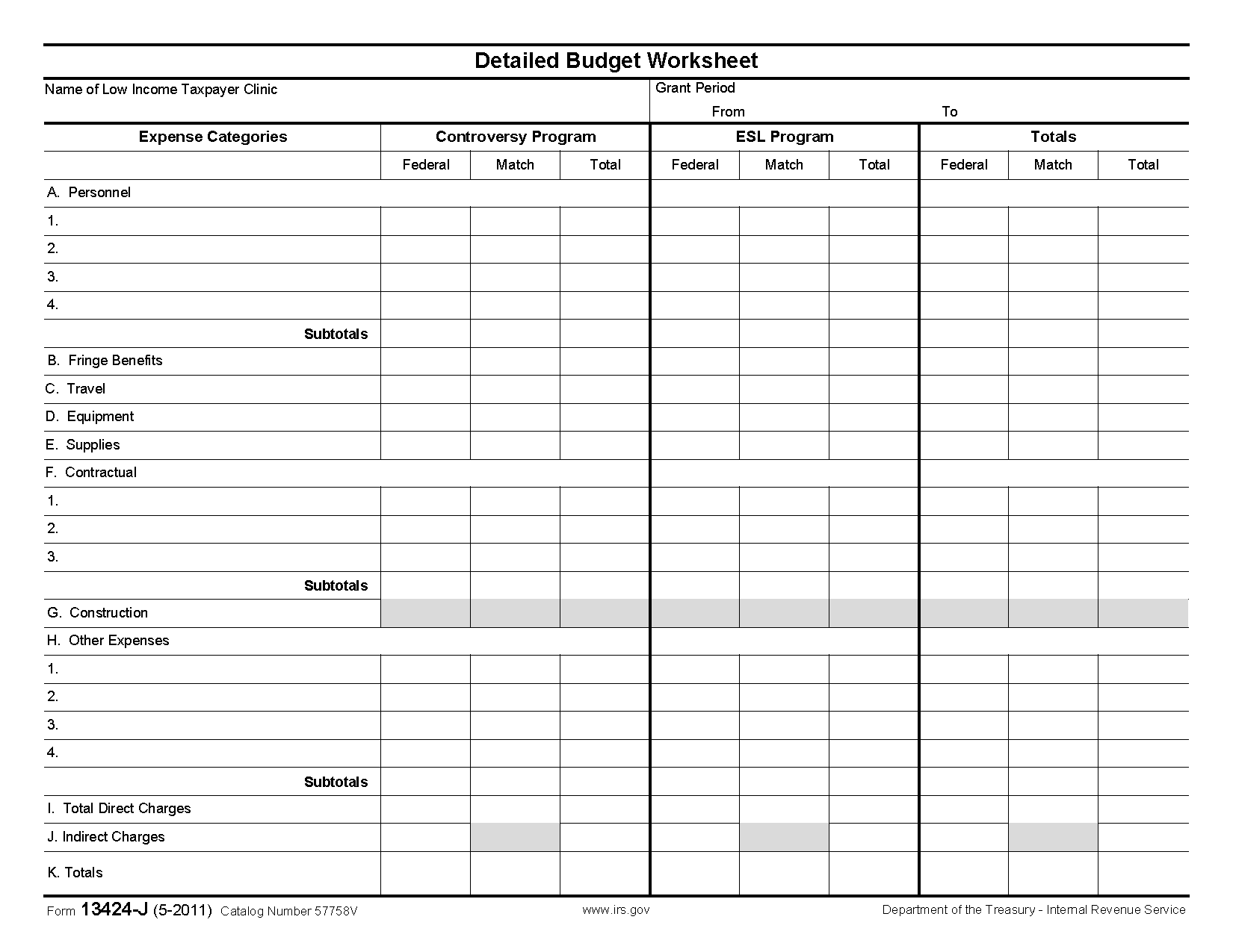 Form 13424 J Low Income Tax Clinic   Detailed Budget Worksheet