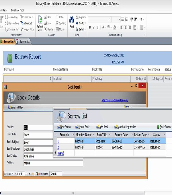 Ms Access Templates Book Library Database Examples | Access