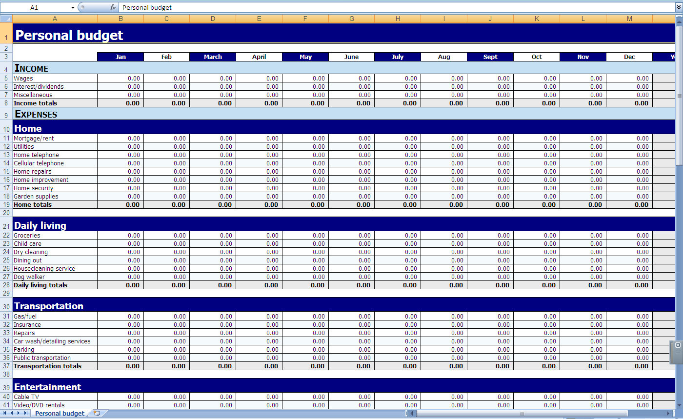 006 Plan Templates Yearly Monthly Personal Budget Household