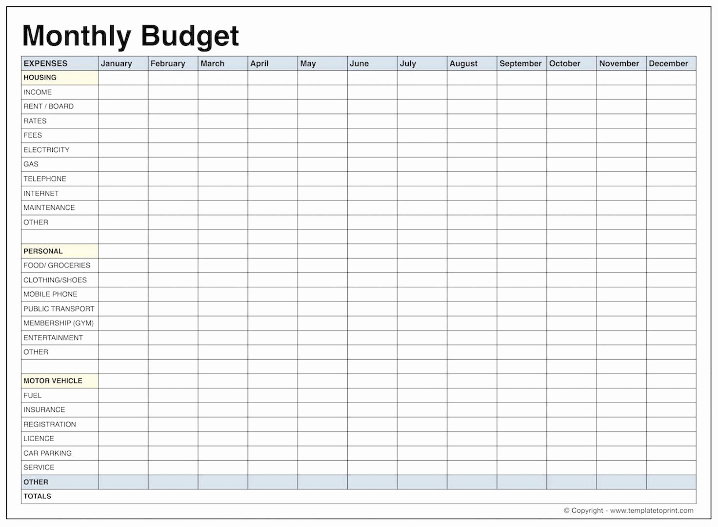 013 Printable Monthly Budget Template Free Best Of Blank Bud Pdf