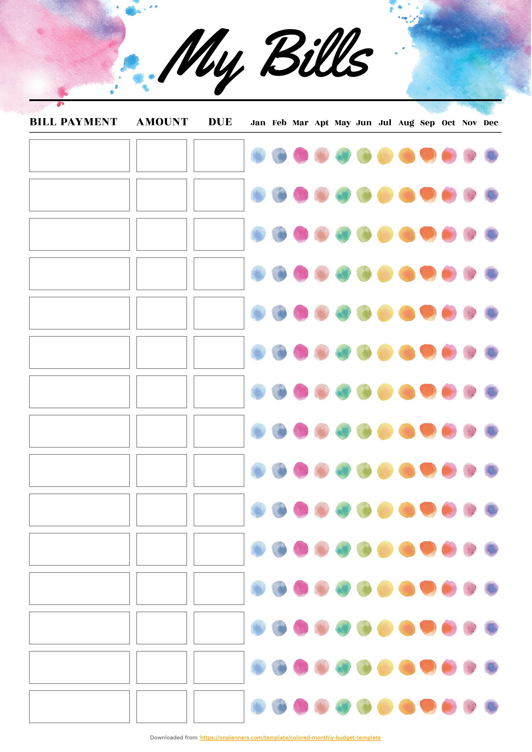 Free Printable Colored monthly budget template PDF Download