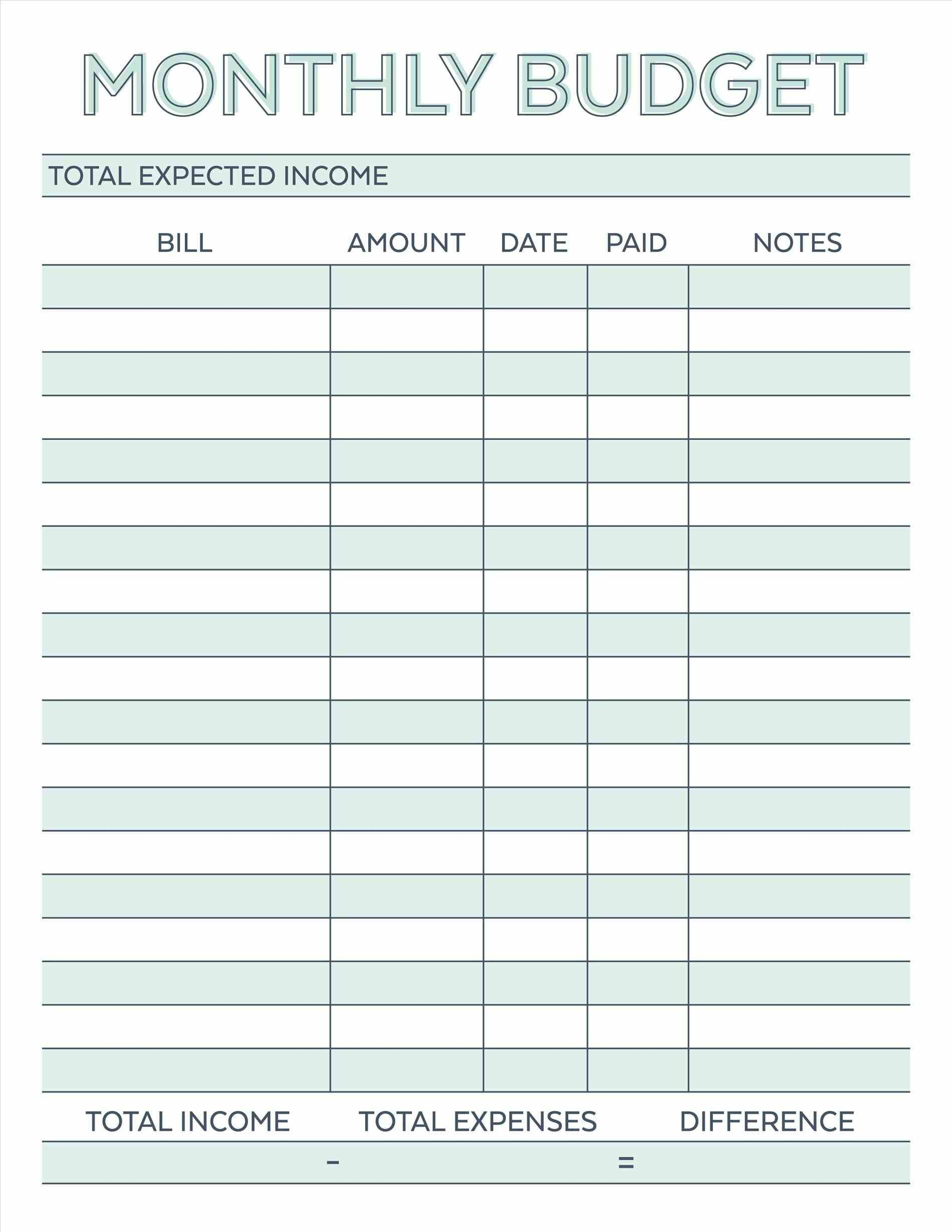 002 Blank Monthly Budget Template Plan Stunning Templates