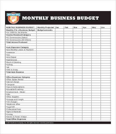 13+ Sample Business Budget Templates   Word, PDF, Excel | Free