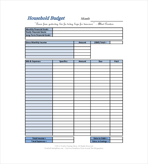 Monthly Household Budget Worksheet   Free Printable Worksheet from