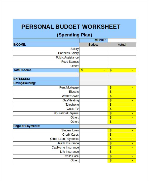 Personal Monthly Budget Income Template , Excel Monthly Budget