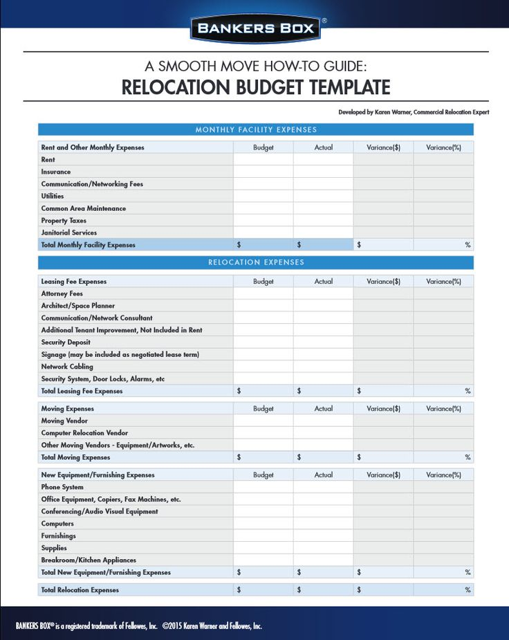 Moving Budget Template | Template Business