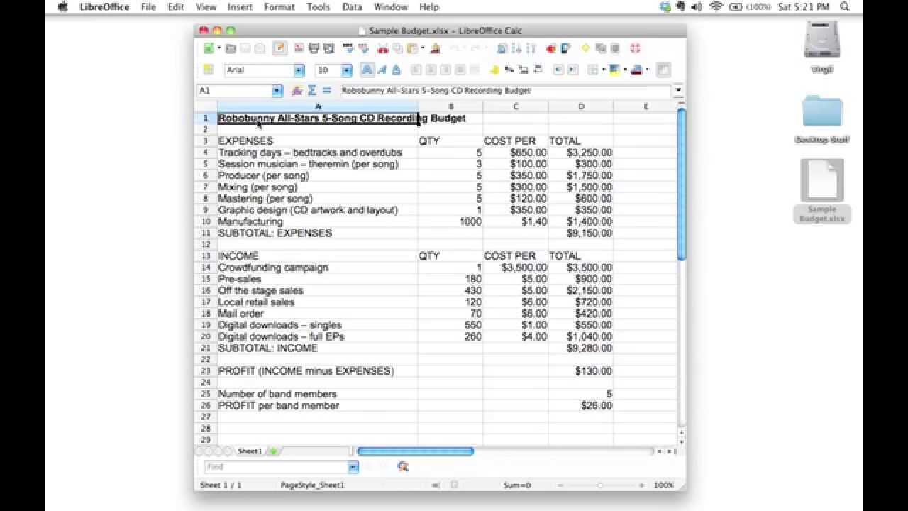 Creating a spreadsheet to track a 5 song CD recording budget   YouTube
