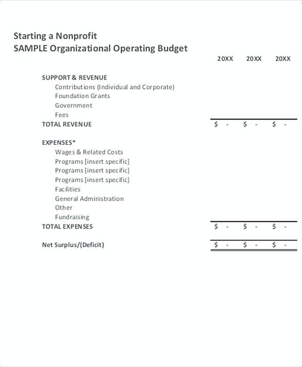 Nonprofit Operating Budget Template , 8 Non Profit Budget Template
