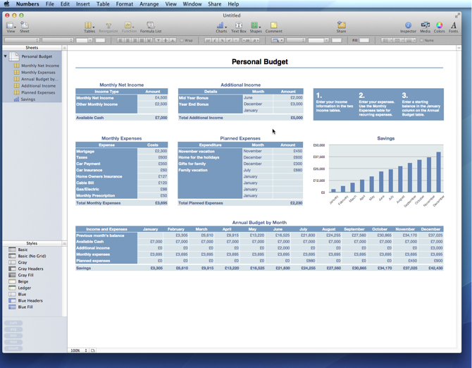 Numbers Personal Monthly Budget Template | Free iWork Templates