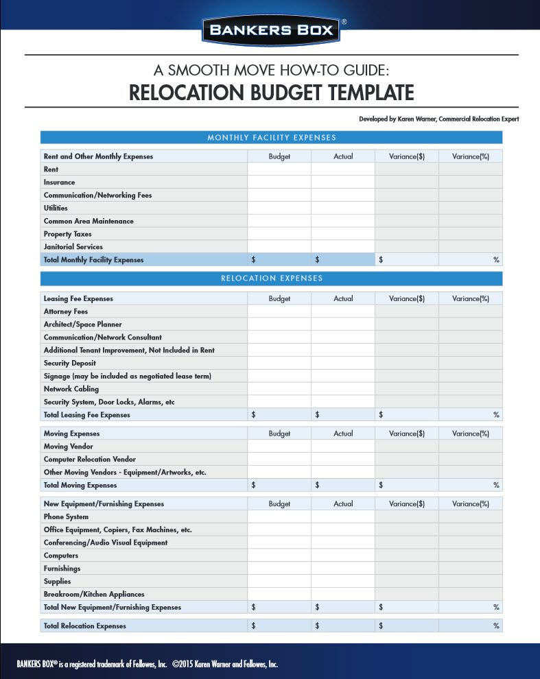 Manage your budget for moving the office with this template