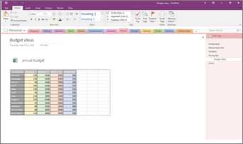 Add an Excel spreadsheet to a page   OneNote