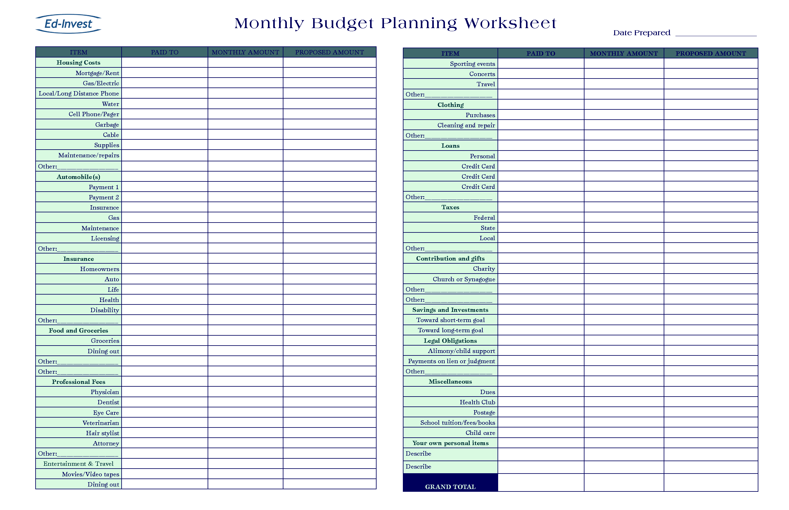 free household budget spreadsheet Excel Expense Tracking Templates