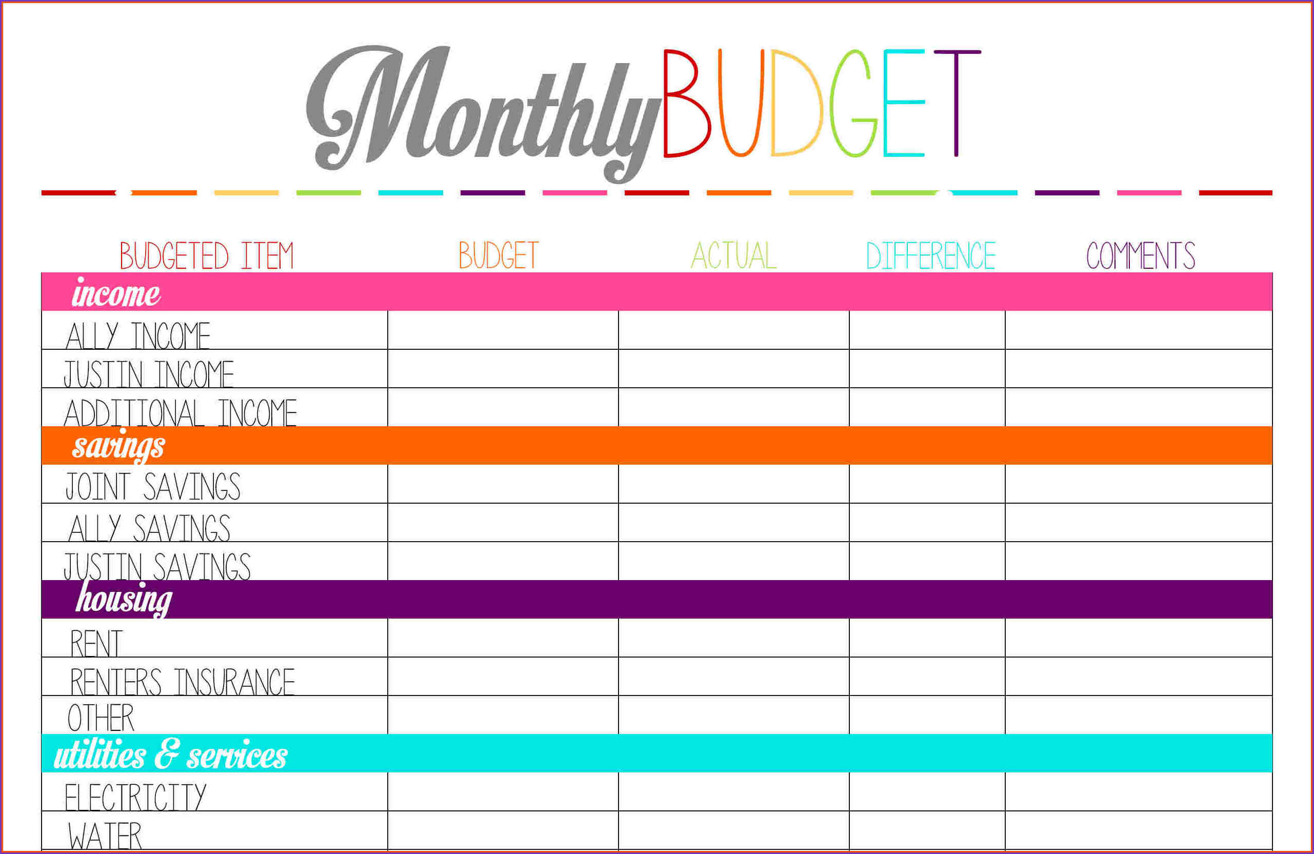 Family Budget Template Spreadsheet Excel Resourcesaver Free