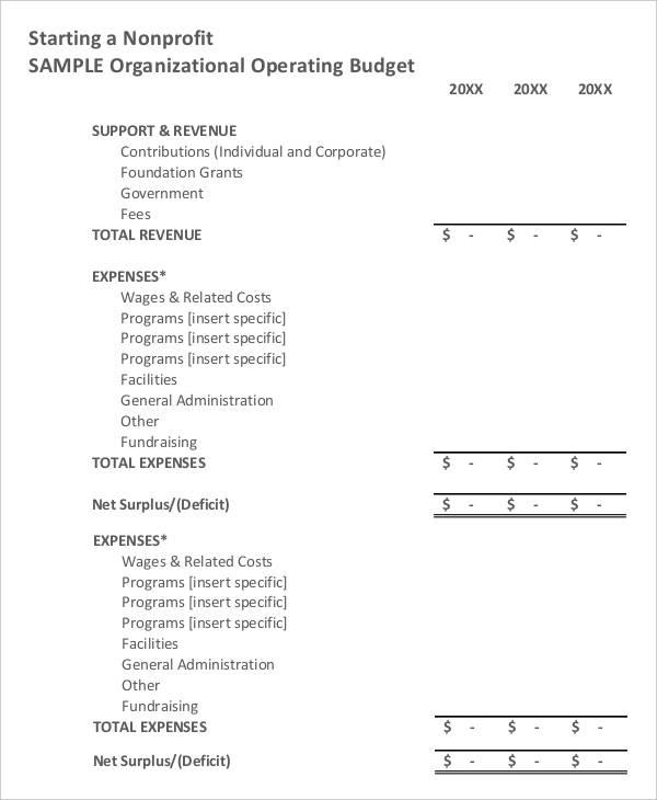 8+ Non Profit Budget Templates   Word, PDF, Excel, Apple Pages
