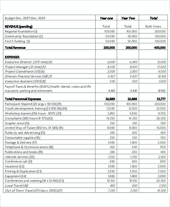 NonProfit Project Budget Template , 8 Non Profit Budget Template
