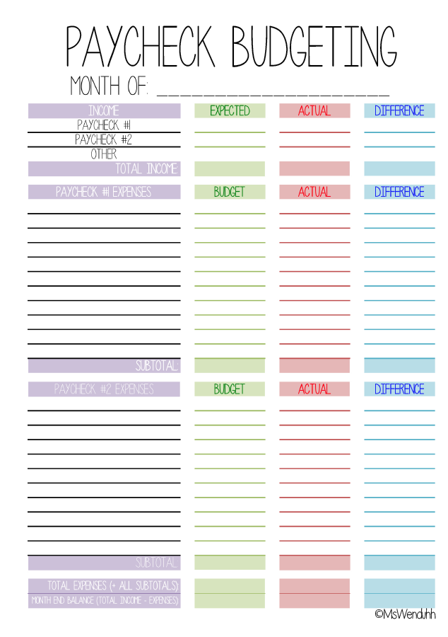 Paycheck Budgeting Printable (MsWenduhh) | get it together