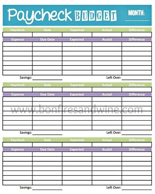 Paycheck to Paycheck Budget Template   Free iWork Templates