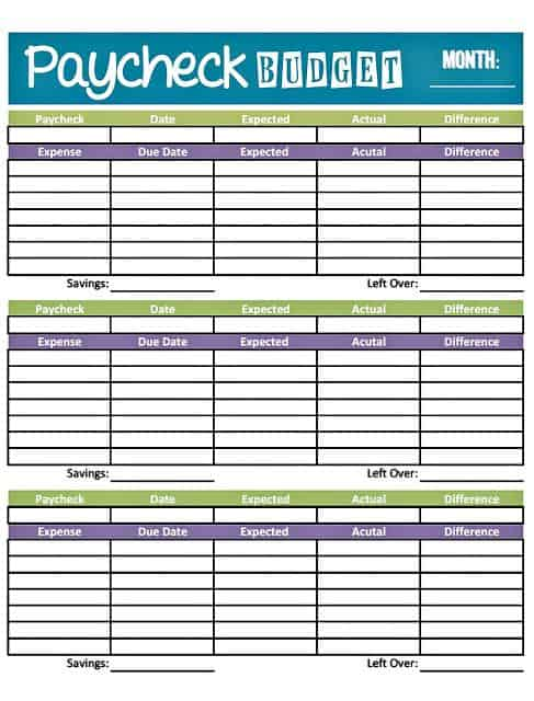 Free Printable Paycheck Budget Template   Template 2 : Resume