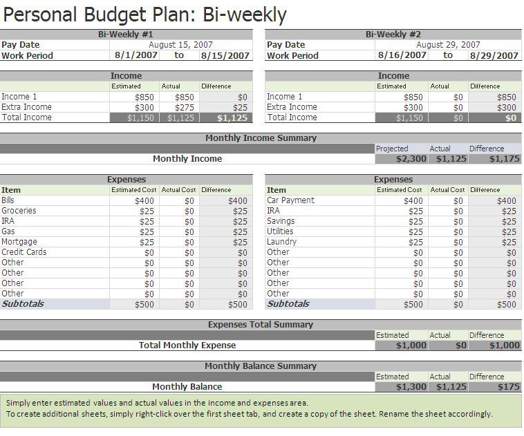 Free Biweekly Budget Excel Template | A Home of My Own | Excel