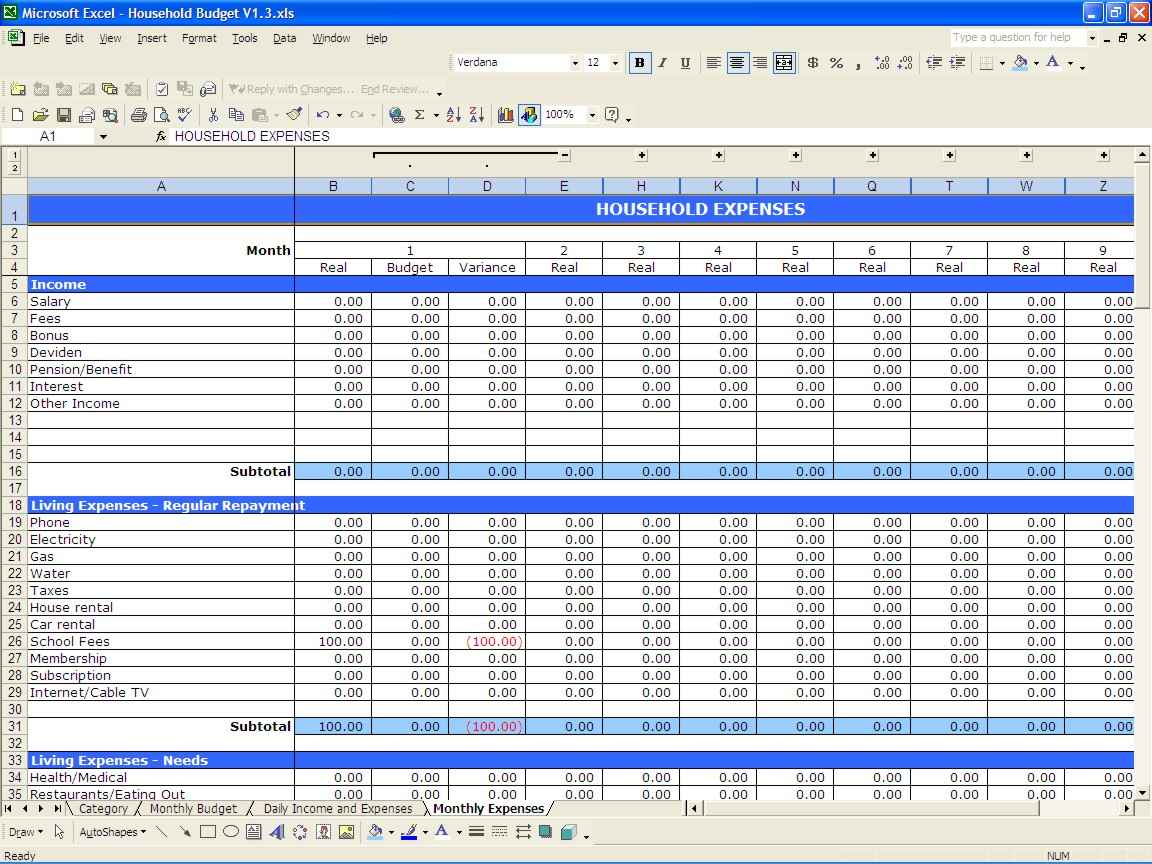 Monthly Udget Excel Spreadsheet Template Family Example Of Uk