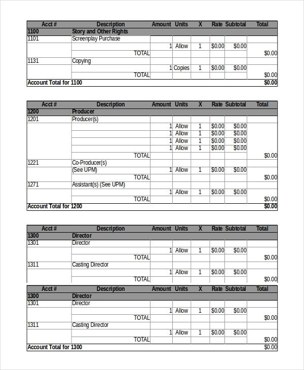9+ Film Budget Templates   Word, Excel, PDF | Free & Premium Templates