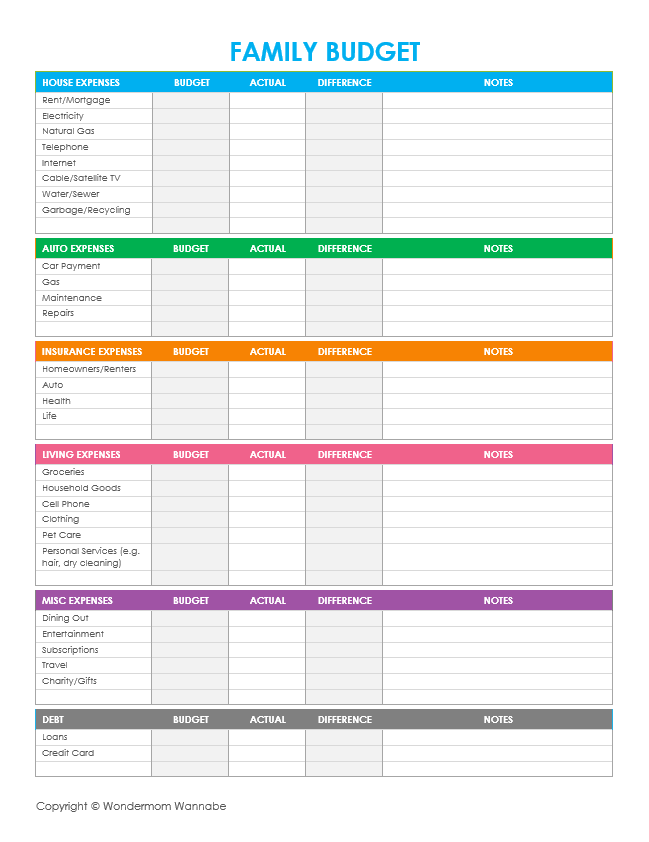 Free printable family budgeting worksheets to set and track