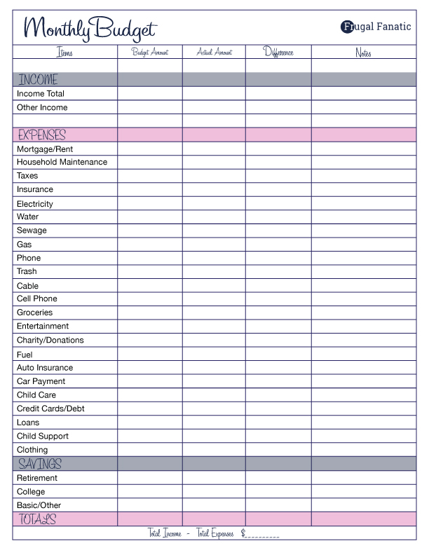 Free Monthly Budget Template   Frugal Fanatic