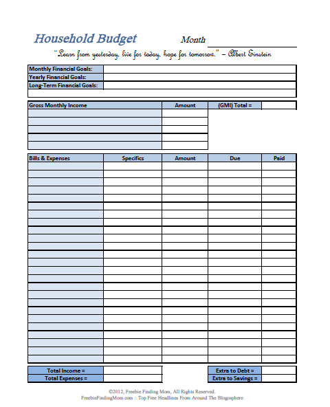 FREE Printable Budget Worksheets – Download or Print | HOME