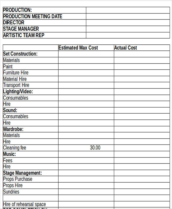 11+ Production Budget Templates   Word, PDF | Free & Premium Templates