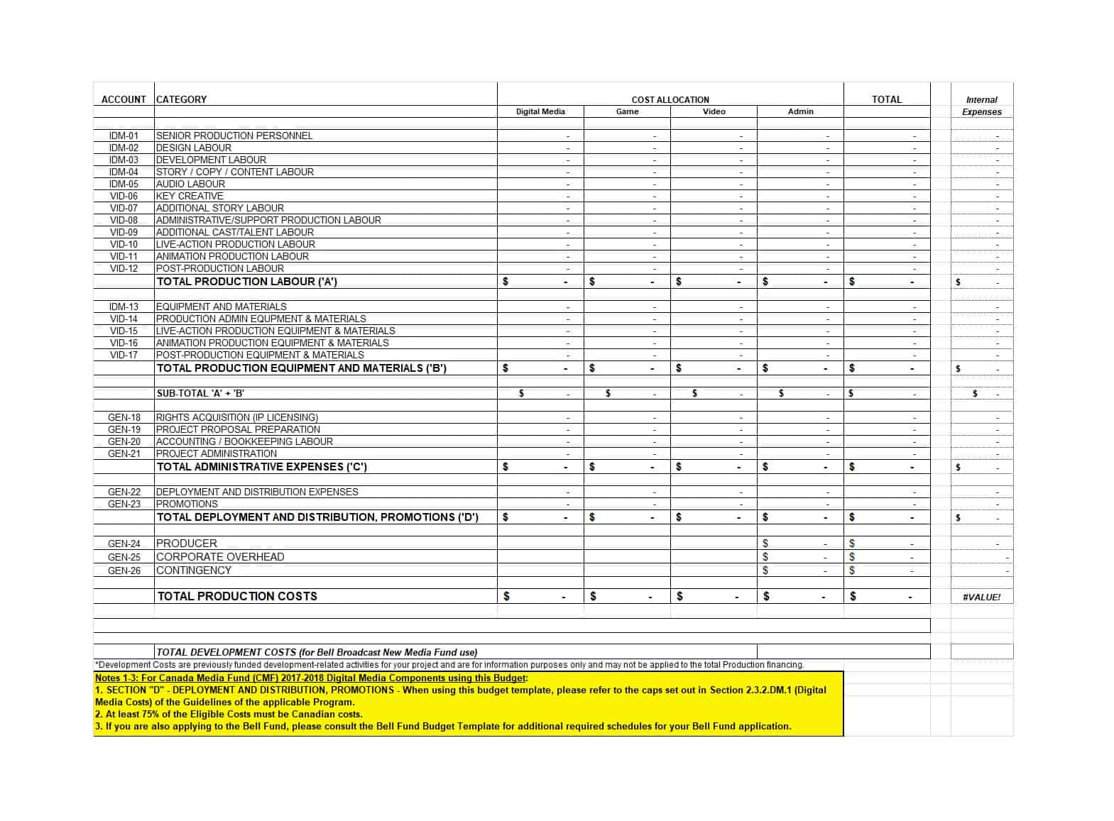 005 Production Budget Template Film Plan Awesome Templates Format