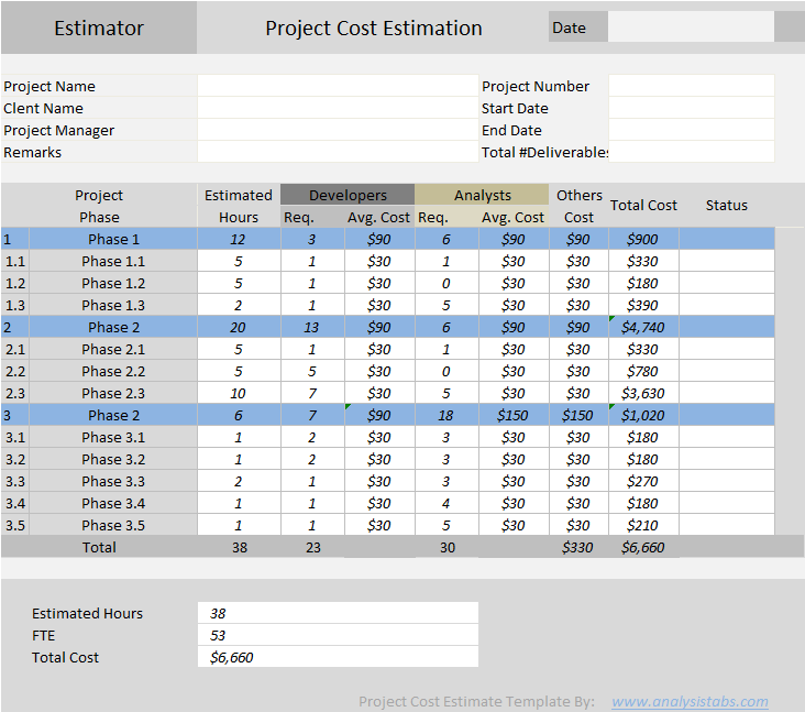 Project Cost Estimator   Excel Template   Free Download