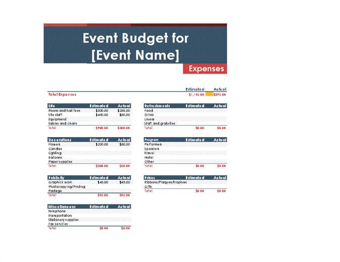 Printable Party Budget Worksheet for Excel