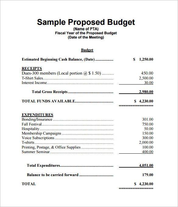 proposed budget template   Monza.berglauf verband.com
